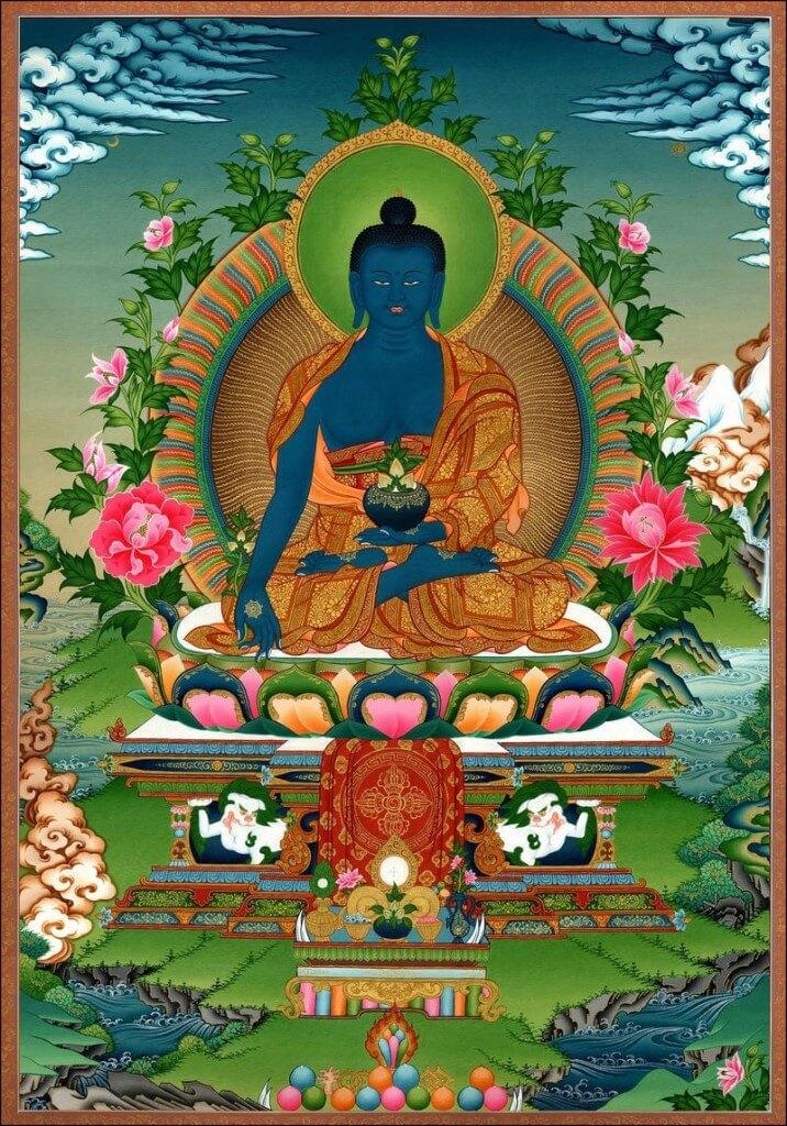 Medicine Buddha with Haritaki in both hands