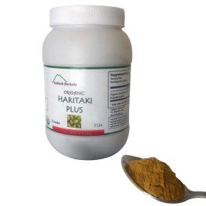 Organic Haritaki Plus,Yogic Super Brain Food, 1lb bottle Organic details and spoon