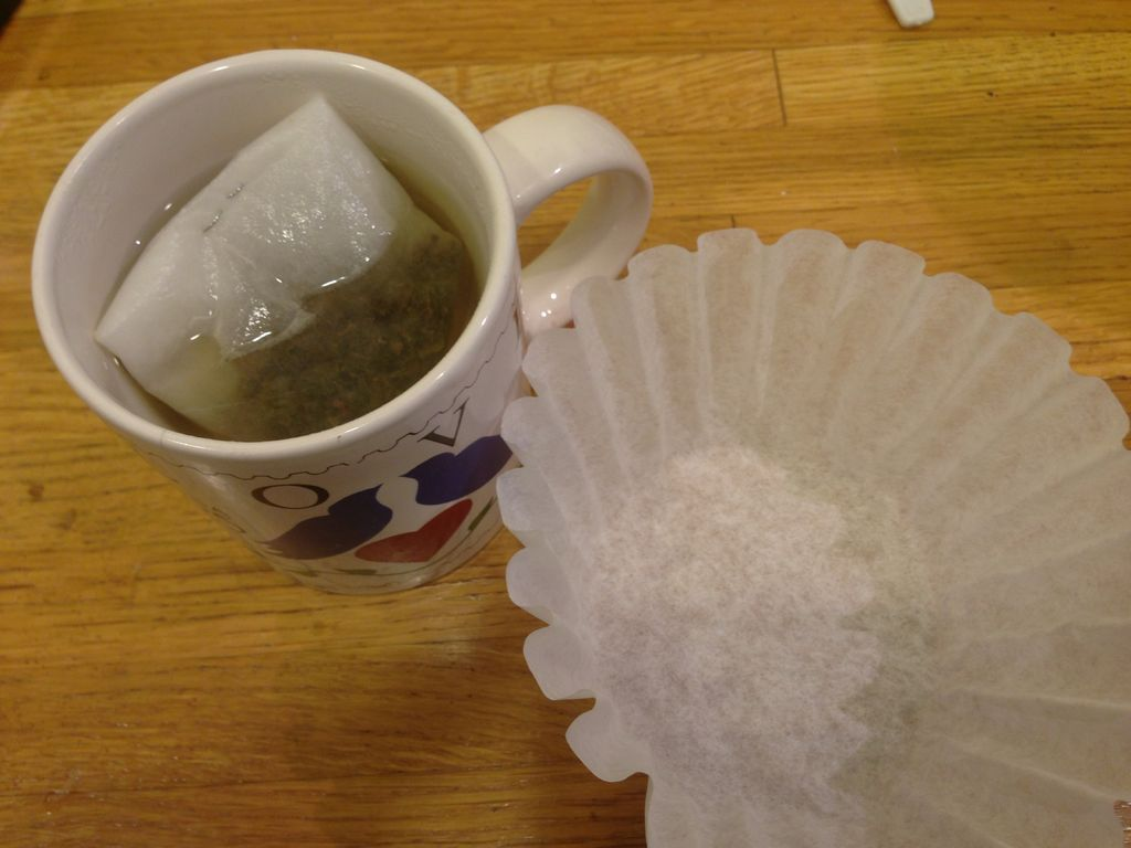 How to make haritaki tea from a coffee filter